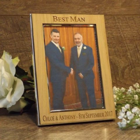 Personalised Best Man Usher Groomsman Photo Frame Oak Wood Veneer